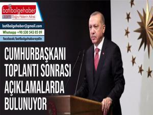 Cumhurbaşkanı Erdoğan, Kabine Toplantısı sonrası açıklamalarda bulunuyor