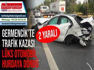 Germencik'te Trafik Kazası 2 Yaralı/Lüks Otomobil Hurdaya Döndü